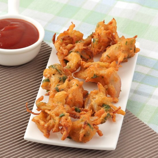 Onion Pakoda Crispy Onion Fritters Recipe With Step By Step Photos