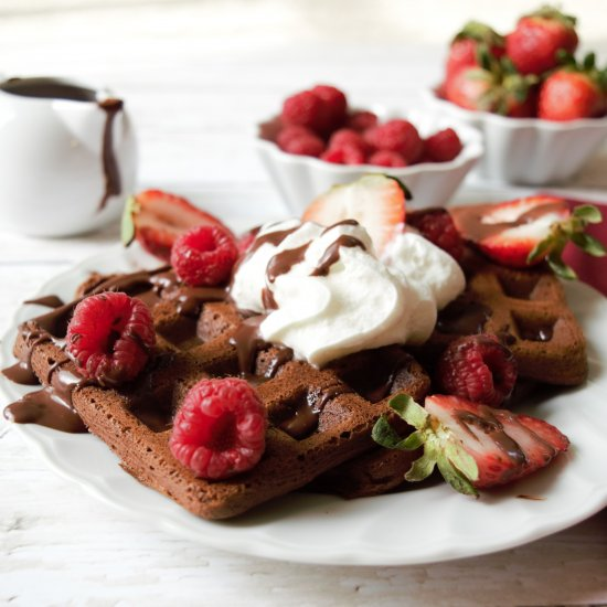 Easy Chocolate Waffles and Pancakes
