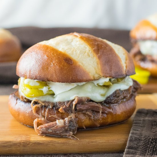 Crock Pot Mississippi Roast Sandwich