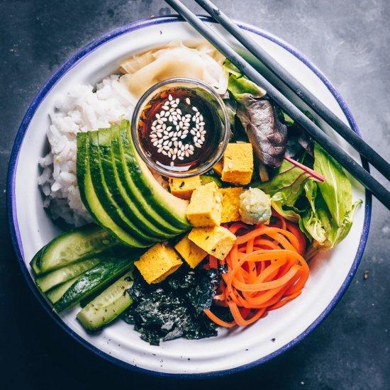 Vegan Sushi Bowl w/ Chickpea Tofu