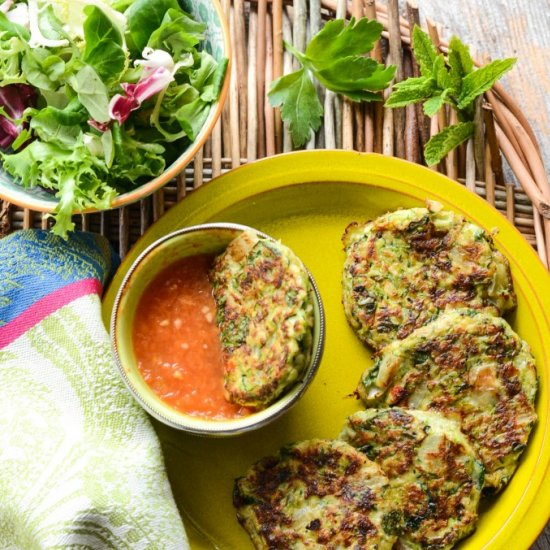Courgette Fritters With Tomato Dip