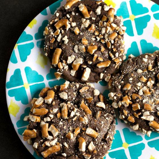 Pretzel Crusted Chocolate Cookies