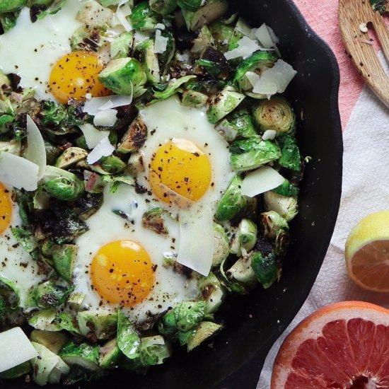 Lemon Parm Brussels and Egg Skillet