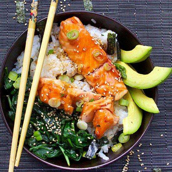 e50a9e62d3dc Teriyaki Salmon Rice Bowl with Spinach